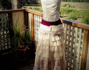 Victorian Style, Petticoat and bustle /corset, bridal costume, pink and cream lace.