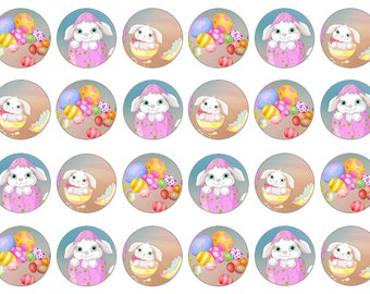 Easter Bunny Toppers, Easter Cupcake Toppers, 12 or 24, Edible Prints, Gift For Easter, Easter Cake Topper, Wafer Paper, Icing Paper