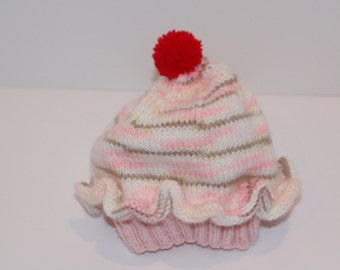 Cupcake Baby/Toddler Cap Knitted Pink Striped and Tan