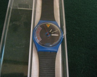 BLUE JET Vintage Swatch, New in Box