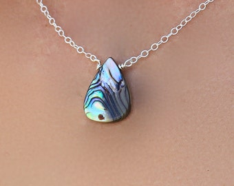 Abalone Shell Pendant Necklace, Layering Necklace, Delicate, Minimal