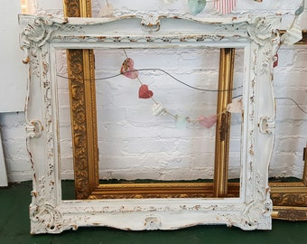 Shabby Chic Vintage Ornate Large Picture Frame White 1900's