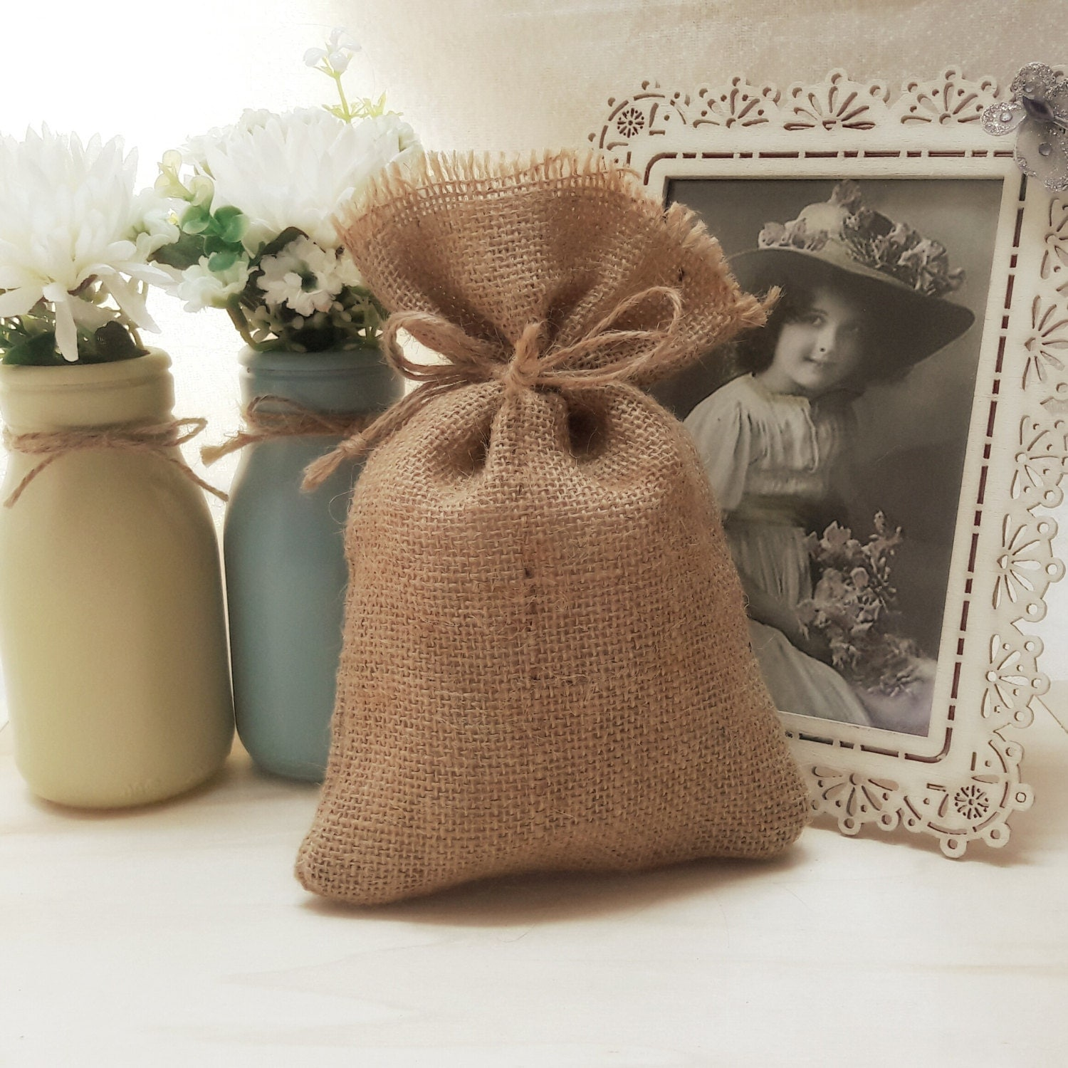 20 rustic burlap 4 x 6 wedding favor bag drawstring pouch for Wedding favor gift bags