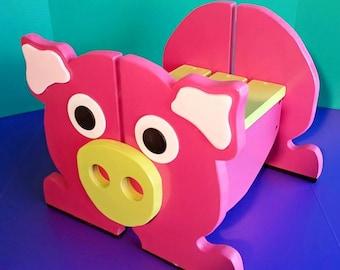 Kids Pink Pig Step Stool, Wood Step Stool for Toddlers, Bathroom Stool, Toddler Bench, Playroom Furniture, Pink, Bench, Step Stool, Pink Pig