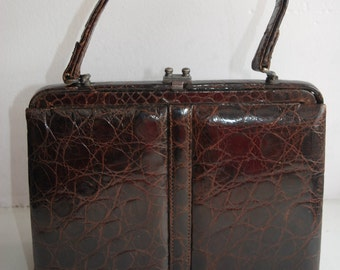 Vintage small cute dark brown leather evening bag purse