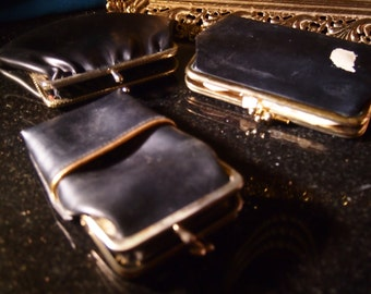 Vintage 1950's-60's lot of 3 black change purses for one price-