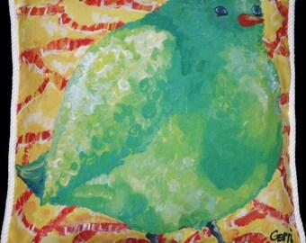 Green Birdie Pillow