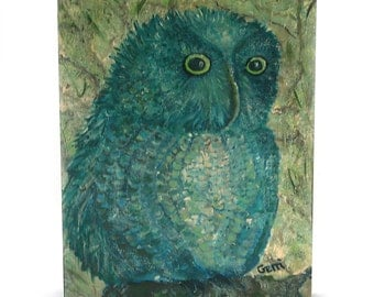 Adorable Oscar OWL art on Wood Panel