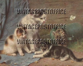 Digital download cats vintage postcard, early 20th century cats postcard, cats vintage painting, direct high quality download cats