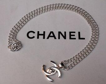 collier chanel vintage silver cc