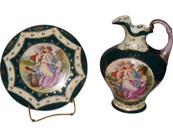 Royal Vienna Porcelain Plate and Pitcher ca.1895