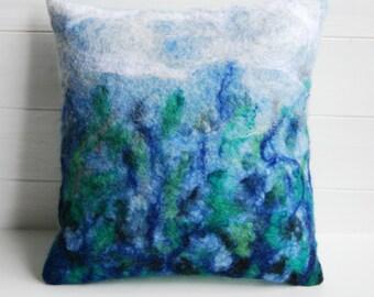 Handmade Felt Fronted Cushion Seascape Ocean