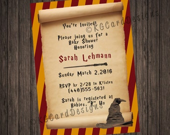 Harry Potter Scroll Baby Shower Invitation.