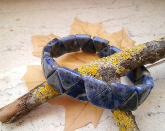 Sodalite, triangles, bracelet, Bangle