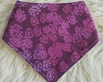 Baby Bandana Bib - Pretty Purple Floral. Baby. Dribble Bib. Baby Girl. Baby Shower Gift.