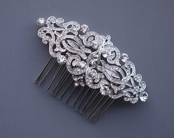 Vintage Silver Wedding Comb, 1920s Bridal Hair Comb, Vintage Hair Comb, Bridal Hair Comb, Vintage Wedding Hair Comb, Wedding Head piece