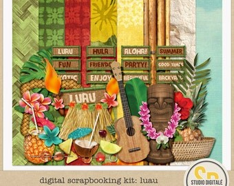 Tropical Summer Beach/Pool Party-Digital Scrapbooking Kit: Luau