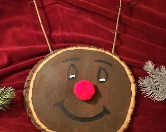Round Wooden Rudolph