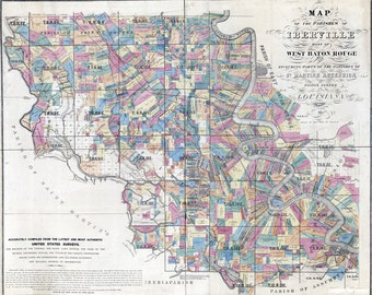 1883 Map of Iberville and West Baton Rouge Parish (County) Louisiana