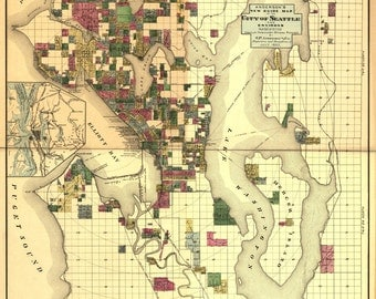 1890 Map of Seattle Washington