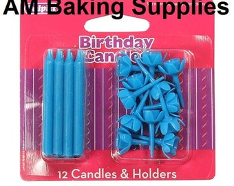 Pack of 12 Candles and Holders - Various Colours