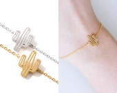 Stunning Small Cactus Bracelet / Choose color 18k Gold Silver Everyday Jewelry