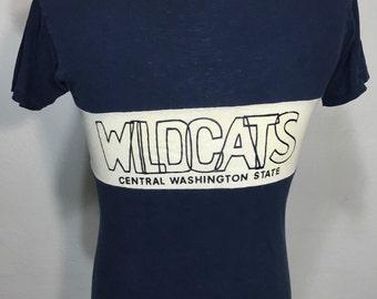 70's vintage champion 100% cotton t shirt blue bar wildcats size medium