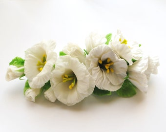Hair accessories,cold porcelain, French Barrette, Clip For Hair, Eustoma