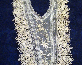 Vintage Crochet Applicable Collar- Front Decor For A Dress Or a Top