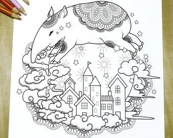 Adorable Tapir - Adult Coloring Page Print