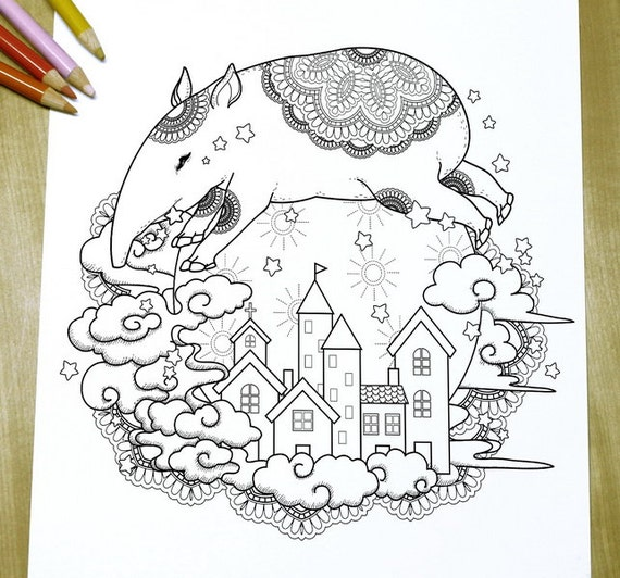 Items similar to adorable tapir adult coloring page for Tapir coloring page