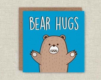 Bear Card, Cute Birthday Card, Cute Card, Cute Bear Card, Get Well Card, Bear Hugs, Funny Card, Card For Her, Card For Him, Anniversary Card