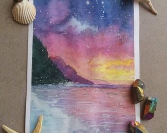Sunset original watercolor painting