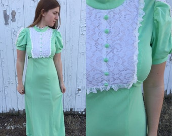 1960s green maxi dress / 60s maxi / lace bib dress / vintage maxi dress / green maxi dress