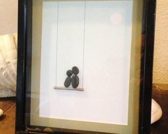 "Pebble Art  "" Swing II ""  Beach Decor Stone Rock People Baby Shower Gift"