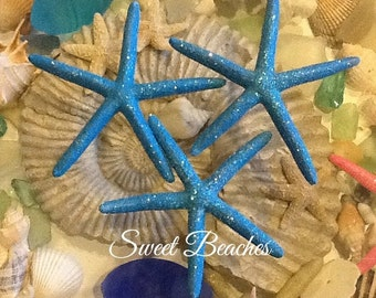 Set of 3 Sparkling Starfish  Sea Star Sea Shell beach Nautical Decor