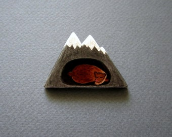 Mountain. Brooch. Free shipping.