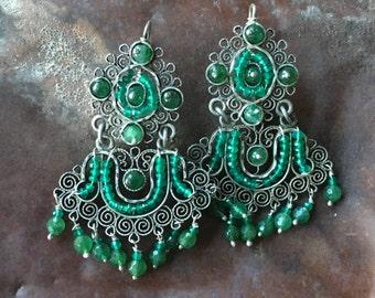 Vintage Oaxaca sterling and emerald filigree earrings, Frida Kahlo chandeliers! Most unusual!
