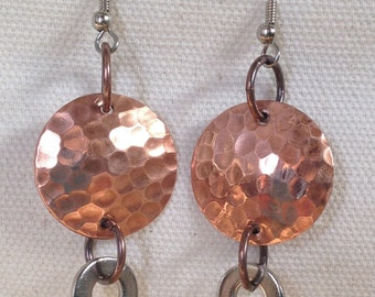 Copper discs with silver metal washers