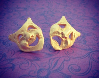 Comedy Triumph Tragedy mask stud earrings - drama