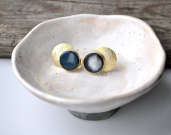 Moon ear jackets Space stud earrings Space jewelry Moon jewelry Crescent moon earrings Cosmic earrings Black earrings Universe Galaxy stud