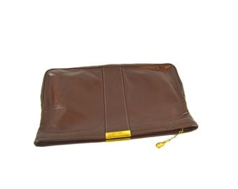 Brown Vegan Leather Clutch