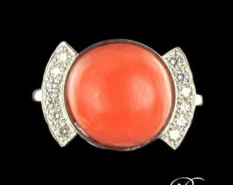 Coral diamond ring white gold 18K Modern Art deco