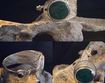 Silver Filigree Bracelet with malachite stone