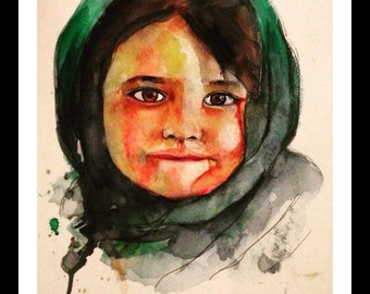 Original Watercolor- Pakistani girl Print
