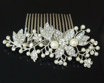 wedding bridal FLOWER hair comb Ivory Color pearl and crystal