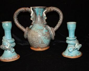 Twyla Wardell Sweetheart Dragon Vase and Candlesticks- Vintage