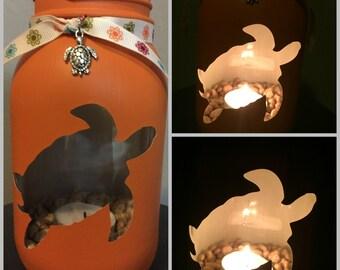 Turtle Painted Mason Jar Tea Light Candle Holder