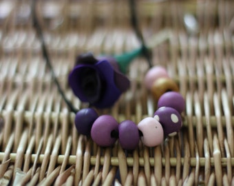 The Colour Purple - Polymer Clay Bead Necklace