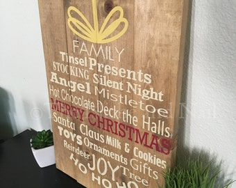 Christmas Decor, Holiday Sign, Ornaments, Rustic Holiday Decor